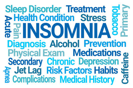 Insomnia Blue Word Cloud on White Background