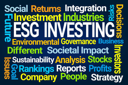 ESG Investing Word Cloud on Blue Background