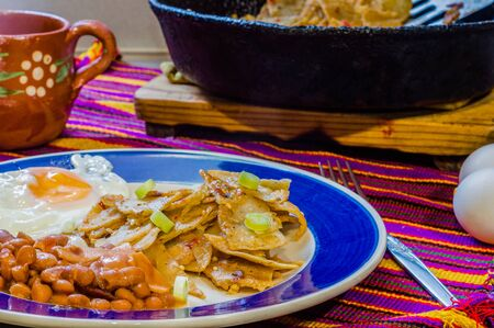 Chilaquiles, traditional Mexican breakfast. Copy space