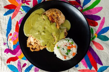 Green pipian (pipian or mole verde), traditional Mexican food. Traditionally from the states of Puebla, Tlaxcala and Oaxaca. With chicken and rice.