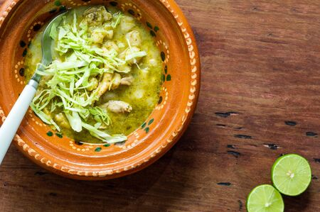Green Pozole, traditional Mexican cuisine, hominy stew