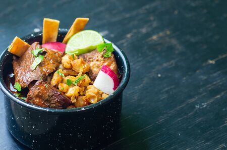 Mexican red pozole, hominy and pork stew