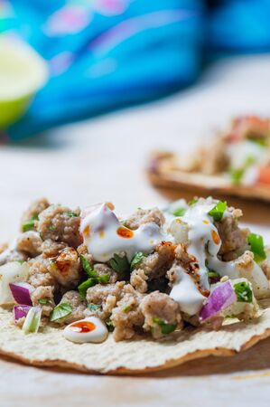 Vegetarian vegan ceviche on toasted tortillas. Mexican ceviche made of texturized vegetable protein with lime juice, jalapeno, onion and cilantro. Healthy vegetarian cuisine.