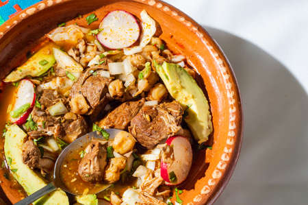 Mexican red pozole, traditional stew of the Aztecs