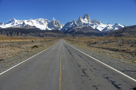 chalten: THIS LEADS TO EL long straight CHALTEN ENTRANCE DOOR FOR LOS GLACIARES NATIONAL PARK