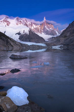 quite: the quite the ice before the sun rises in Patagonia