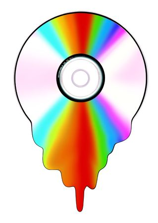 compact disk that dissolves itself into a thousand colors Stock Photo