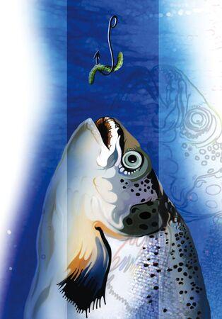 illustration of a fish grabbing the bait