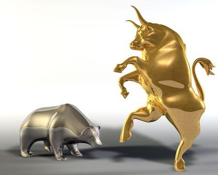 toro: Illustrazione digitale 3d di due statue che rappresentano un toro rampante dorato e un incurvamento gi� orso Archivio Fotografico