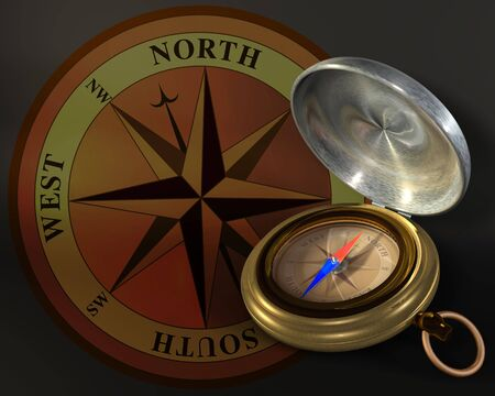 Opened compass on windrose background