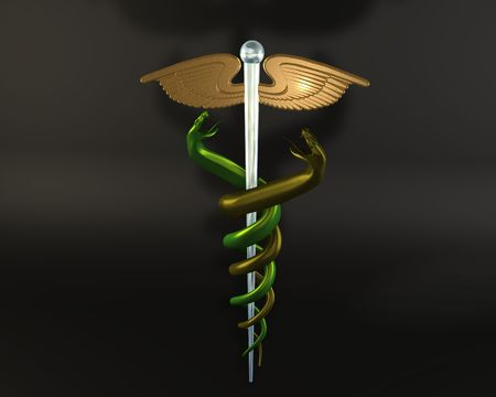 3d illustration of goldglass caduceus on black background illustration