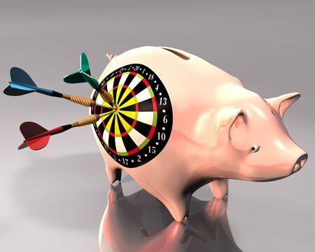 macht: 3d Illustration of piggy bank hit by three colored darts on white background