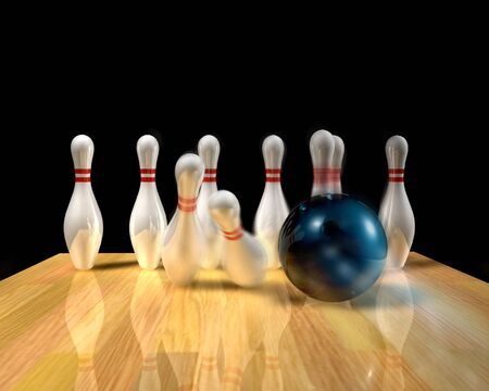 straight path: 3d illustration of a bowling ball striking pins