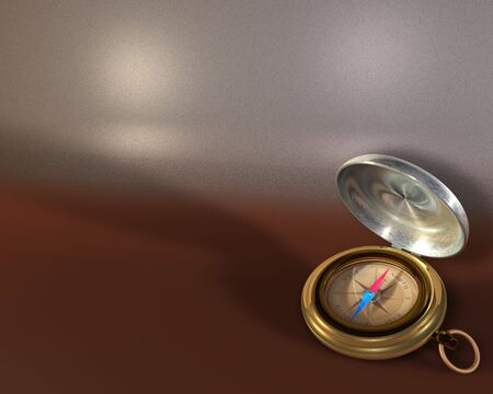 Opened compass on metallic background Stock Photo
