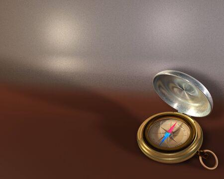 Opened compass on metallic background Stock Photo - 7059280