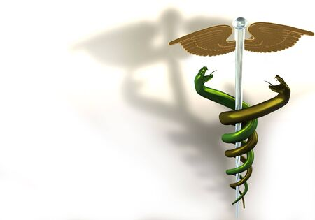 3d illustration of gold/glass caduceus on white background Stock Illustration - 7059278