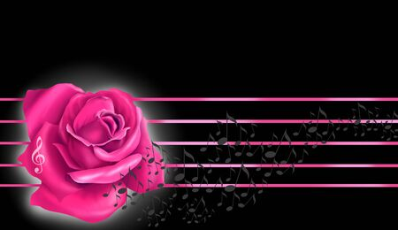 Pink rose and notes flying over the score Stock Photo - 8010689