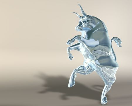 rampant: Digital 3d illustration of a statue representing a rampant glass bull