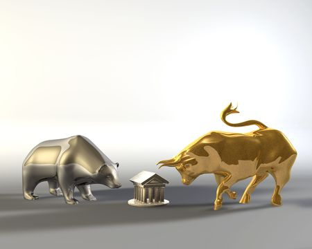 share market: Golden bull and metal bear walking around a marble temple
