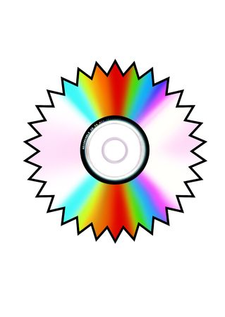 Sun shape compact disk on white backround