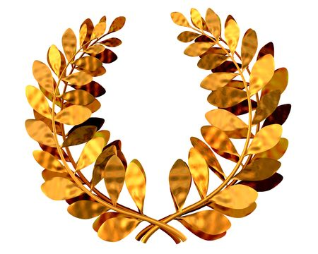 jubilation: 3d illustration of a golden laurel wreath Stock Photo
