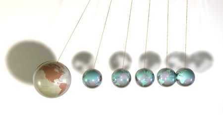 Six spheres of glass hung up to the threads