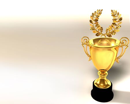3d Illustration of trophy cup and laurel wreath