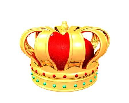 3d Illustration of gold crown on white background illustration