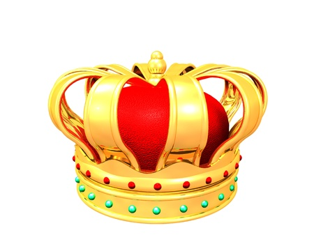 3d Illustration of gold crown on white background Stock Photo