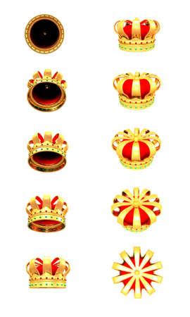 3d Illustration of golden crowns on white background Stock Illustration - 8594784