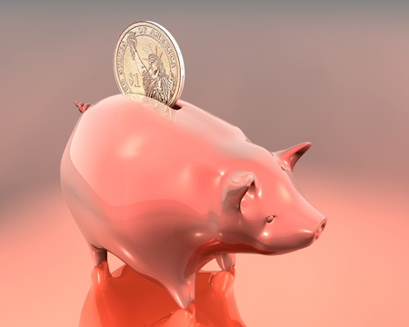 3d Illustration of piggy bank and one dollar on warm colored background Stock Illustration - 8594787