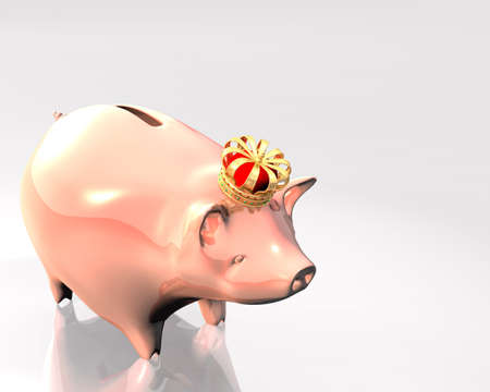 3d Illustration of piggy bank with a golden crown over white background Stock Illustration - 8594782
