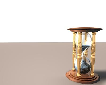 3d Illustration of hourglass over white background Stock Illustration - 8654267
