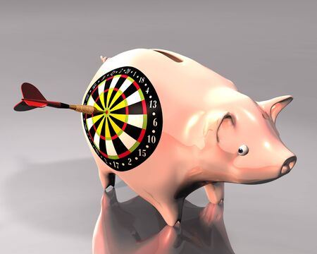 macht: 3d Illustration of piggy bank hit by a colored dart on white background