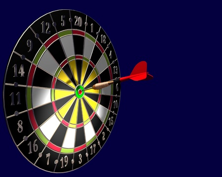 3d illustration of dart board on blue background illustration