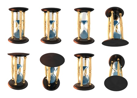 3d Illustration of hourglass series over white background