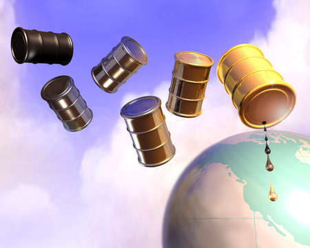 3d illustration of oil drums flying over earth globe