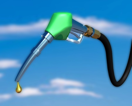 3d illustration of gas pump nozzle on cloudy sky
