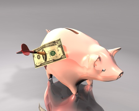 3d Illustration of a piggy bank and 10 dollars on white background, hit by a colored dart