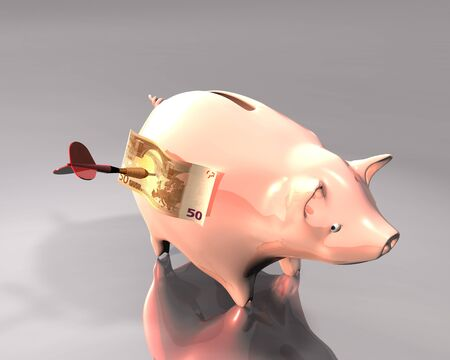 macht: 3d Illustration of a piggy bank and 50 euro on white background, hit by a colored dart Stock Photo