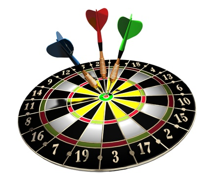 3d illustration of a target  and three colored darts on white background