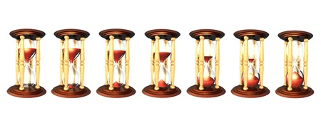 3d Illustration of hourglass series over white background. The red sand falling down, sign the time passing illustration