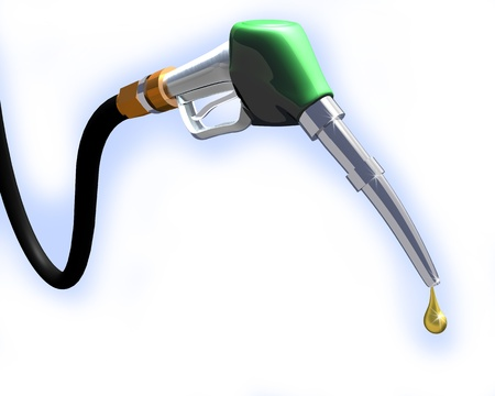 3d illustration of gas pump nozzle on white background Stock Photo