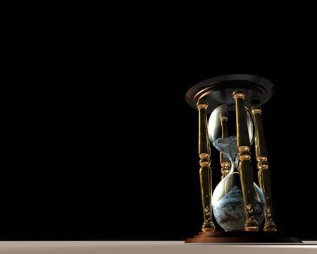 3d Illustration of hourglass over black background
