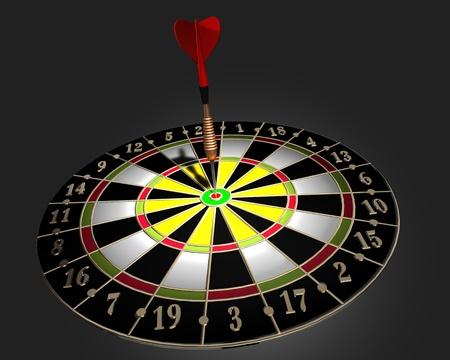 3d illustration of dart board on dark background