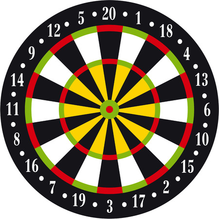 sports bar: Vectorial illustration of dart board on white background
