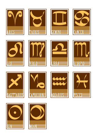Vector illustration of 14 zodiac star icons