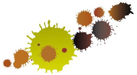 mottle: Illustrazione vettoriale di fango le macchie su sfondo bianco