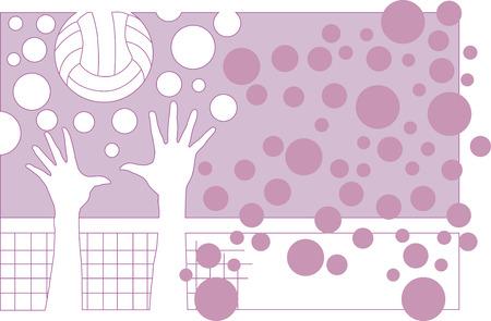 Vector illustration of a volleyball action under net Illustration