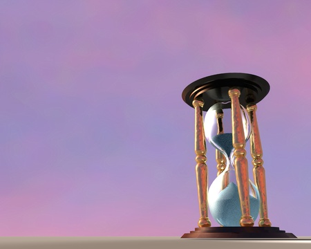 3d Illustration of hourglass over sunset sky background